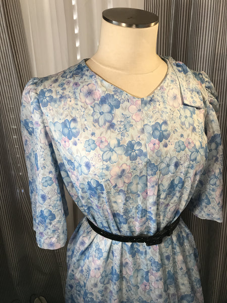 Baby Blue Babe// Womens Blue Floral Vintage Dress// Bow// Plus Size// Tea Party