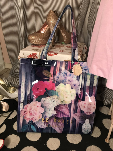 TED BAKER LONDON BNWT Womens Plastic Tote// Purple Lavender Mint Floral// Shoppers// Getaway// Baby Bag