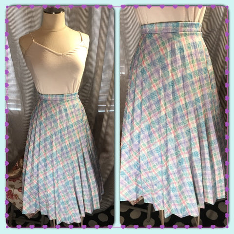 SHOW AND PASTEL// Womens Plus Size Pastel Vintage Pleated Skirt// Blue// Lavender// Pink//