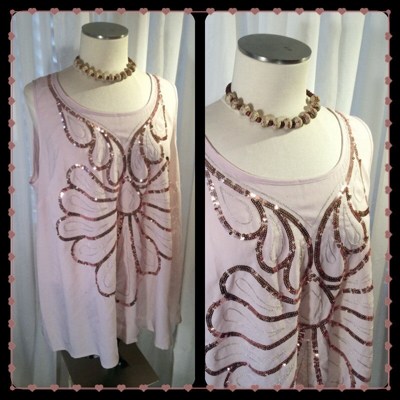 Glam Girl - LANE BRYANT// sequin top// cream top// sleeveless// tank// bling// glam// old Hollywood// plus size