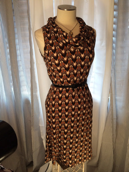Deco Rated - ANN TAYLOR// LOFT// Art Deco// sleeveless// cowl neck// women's dress// Hollywood// glam// size S