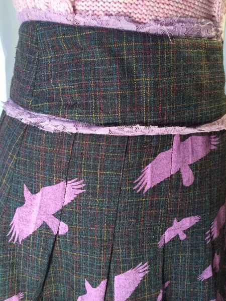 I'll Fly Away - INDUSTRY// pleated plaid skirt// pretty birds// Anthropologie style// lavender skirt// preppy// hipster//geek