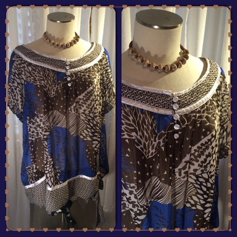Chic Me Out - LANE BRYANT// blue and brown blouse// plus size fashion// plus size blouse// side tie// fashionista// slay