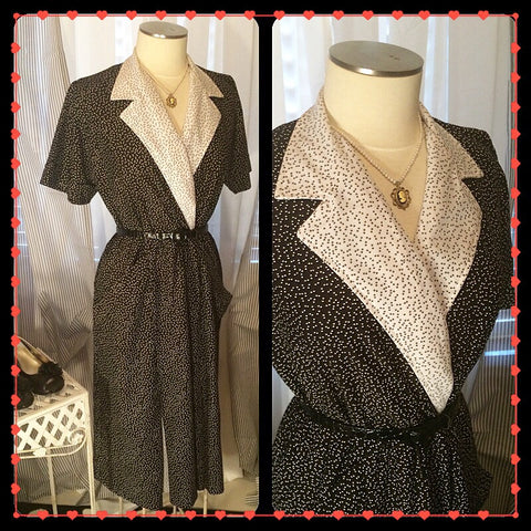 All The Hot Spots - womens vintage polka dot dress// I Love Lucy// retro// pinup// black and white// size M/L