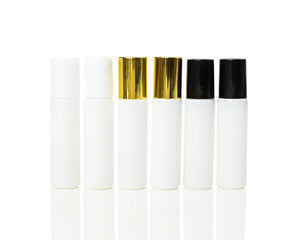 White coated Glass 10 ml. Roller Bottles with Stainless Steel Rollers and black, white or gold caps