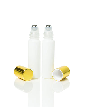 White coated Glass 10 ml. Roller Bottles with Stainless Steel Rollers and gold caps