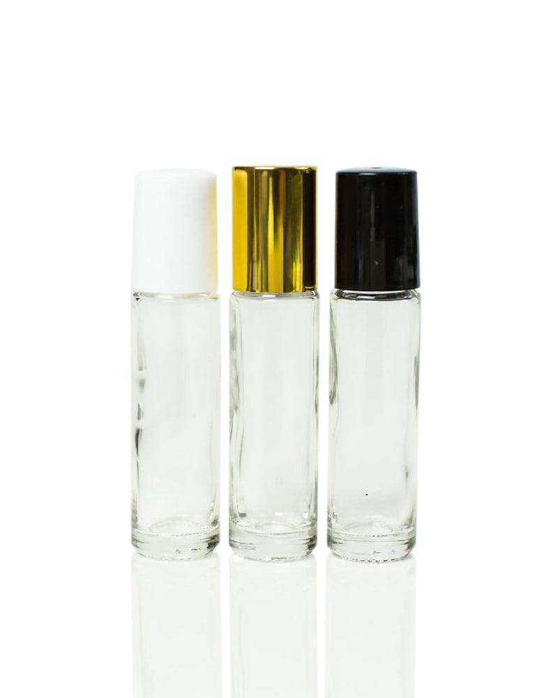 10 ml clear glass roller bottles with stainless steel rollers and black, white or gold caps