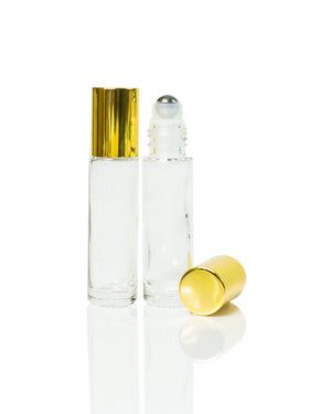 10 ml clear glass roller bottles with stainless steel rollers and gold caps