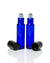 10 ml. cobalt blue glass roller bottle with  black cap and stainless steel rollers