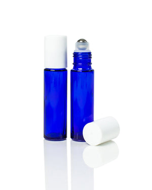 10 ml. cobalt blue glass roller bottle with  white cap and stainless steel rollers