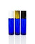 10 ml. cobalt blue glass roller bottle with white, black or gold cap and stainless steel rollers