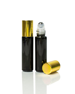 Glossy Black Glass 10 ml. Roller Bottles with Stainless Steel Rollers with gold caps