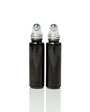 Glossy Black Glass 10 ml. Roller Bottles with Stainless Steel Rollers
