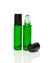 Emerald Green Glass Roller Bottles with Stainless Steel Rollers and black caps