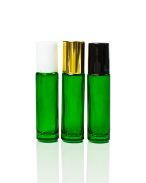Emerald Green Glass Roller Bottles with Stainless Steel Rollers and gold, black or white caps