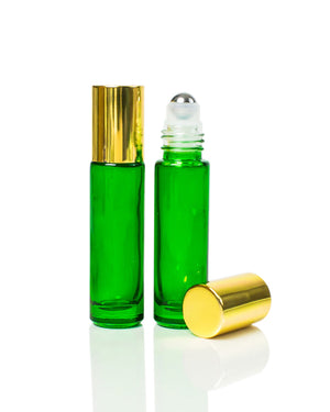 Emerald Green Glass Roller Bottles with Stainless Steel Rollers and gold caps