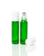Emerald Green Glass Roller Bottles with Stainless Steel Rollers and white caps