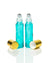 bahama blue coated glass roller bottles with stainless steel rollers and gold caps