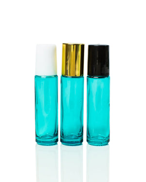 bahama blue coated glass roller bottles with stainless steel  rollers and gold, black or white caps