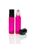 Watermelon Pink Glass Roller Bottles with Stainless Steel Rollers and black caps