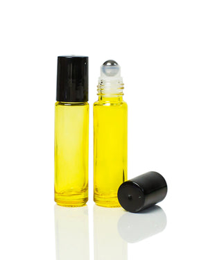 Yellow Coated 10 ml. Glass Roller Bottles with Stainless Steel Rollers and Black Caps