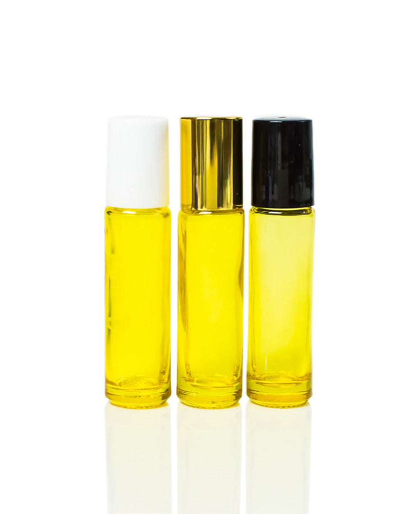 Yellow Coated 10 ml. Glass Roller Bottles with Stainless Steel Rollers and Black, White or Gold Caps