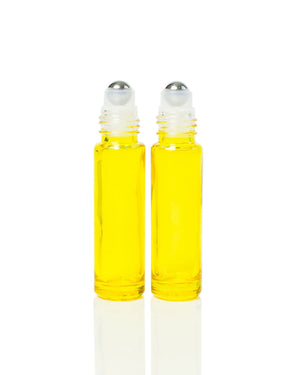 Yellow Coated 10 ml. Glass Roller Bottles with Stainless Steel Rollers
