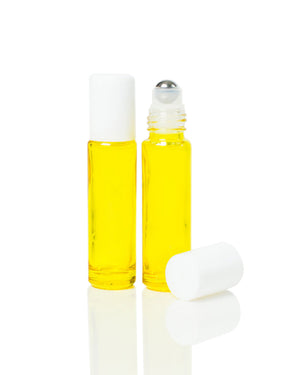Yellow Coated 10 ml. Glass Roller Bottles with Stainless Steel Rollers and white Caps