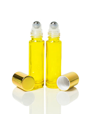 Yellow Coated 10 ml. Glass Roller Bottles with Stainless Steel Rollers and gold Caps