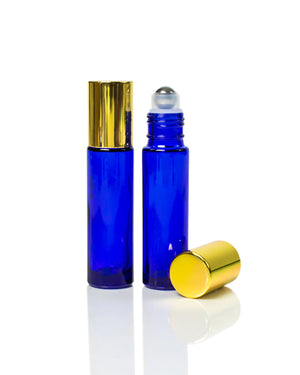 10 ml. cobalt blue glass roller bottle with  gold cap and stainless steel rollers