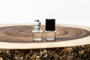 1 ml clear glass mini roller bottle with stainless steel roller and black cap