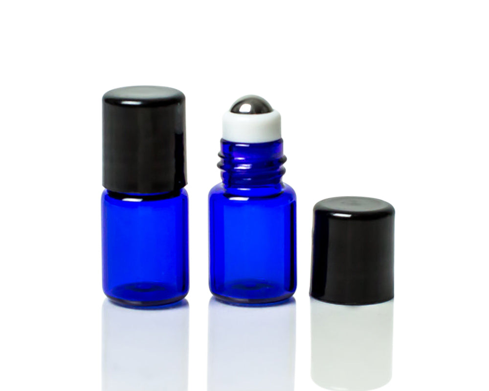 2 ml cobalt blue glass roller bottle with stainless steel roller and black cap
