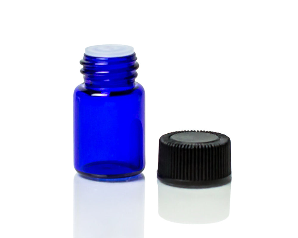 5/8 dram cobalt blue glass sample bottle / vial / dram  with orifice reducers and black caps