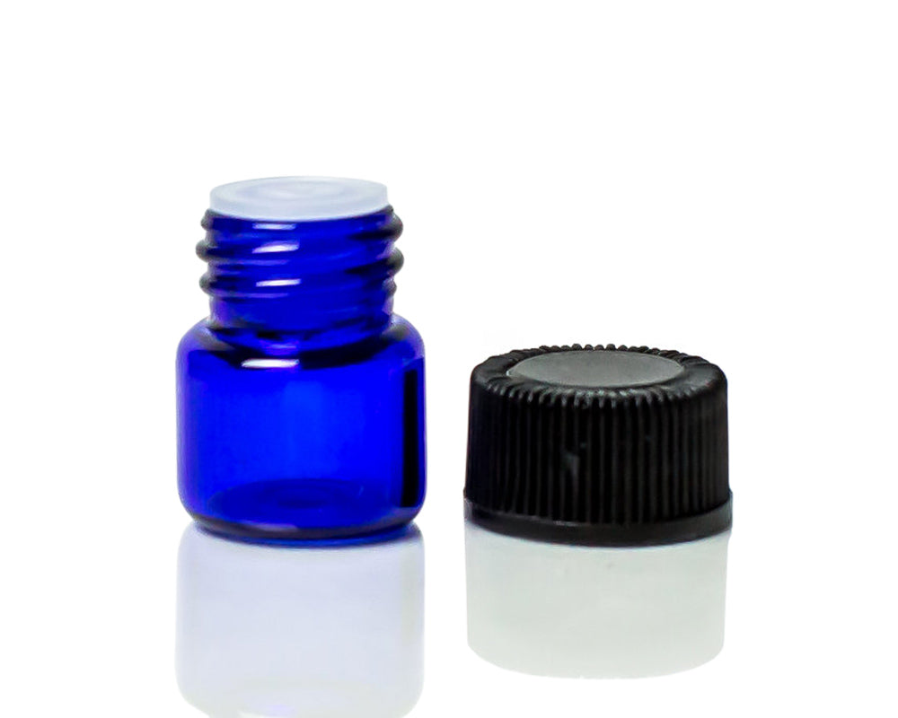 1/4 dram cobalt blue glass sample vial / bottle