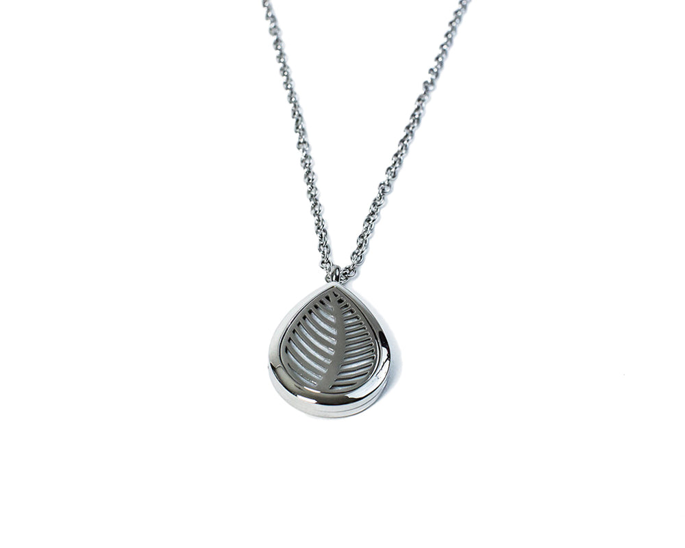Stainless steel leaf style essential oil diffuser locket necklace
