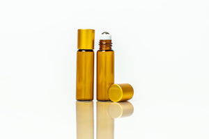 5 ml slim amber glass roller bottles with steel rollers and gold caps