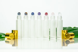 Gemstone roller bottle insert set with lapis lazuli, carnelian, clear quartz, rose quartz, hematite, amethyst and yellow tiger's eye on frosted rollers