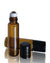 5 ml slim amber glass roller bottles with steel rollers and black caps