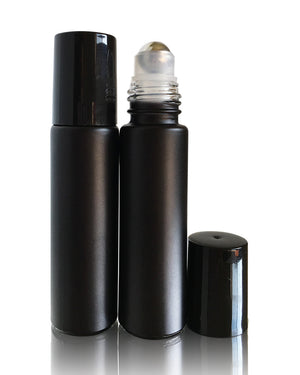 Volcanic Black matte finish glass 10 ml roller bottles with stainless steel rollers and black, white or gold caps
