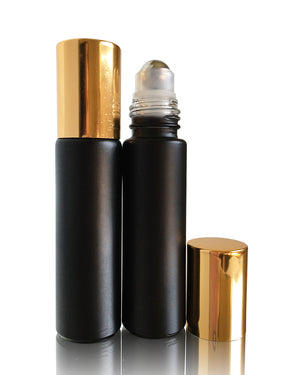 Volcanic Black matte finish glass 10 ml roller bottles with stainless steel rollers and gold caps