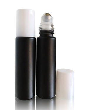 Volcanic Black matte finish glass 10 ml roller bottles with stainless steel rollers and white caps