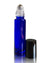 cobalt blue coated glass roller bottles with stainless steel rollers and black caps