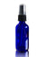 2 oz cobalt blue glass spray bottle with black atomizer top