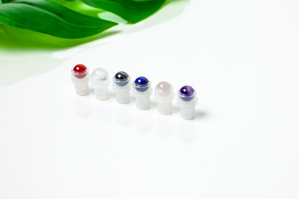 Gemstone roller bottle insert set with lapis lazuli, carnelian, clear quartz, rose quartz, hematite, amethyst and yellow tiger's eye