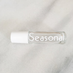 "White Vinyl Decal on clear 10 ml roller bottle ""seasonal"""