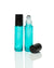 bahama blue coated glass roller bottles with stainless steel rollers and black caps