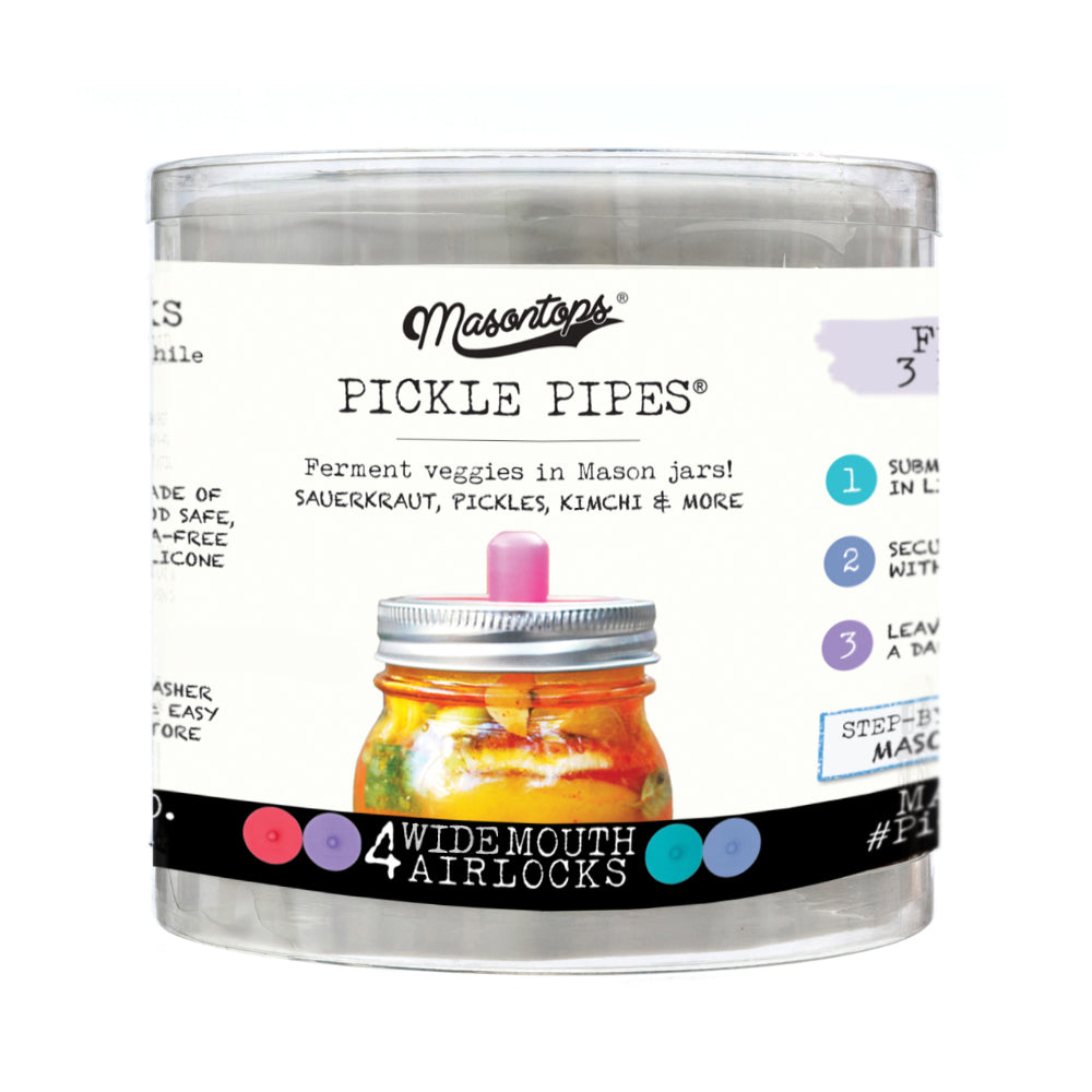 Masontops Pickle Pipes Fermentation Airlock lids for wide mouth mason jars - in package