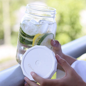 Masontops White Tough Top Airtight Lids for wide mouth mason jars with jar