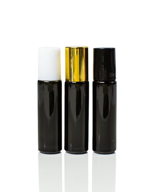 Glossy Black Glass 10 ml. Roller Bottles with Stainless Steel Rollers with black, white or gold caps