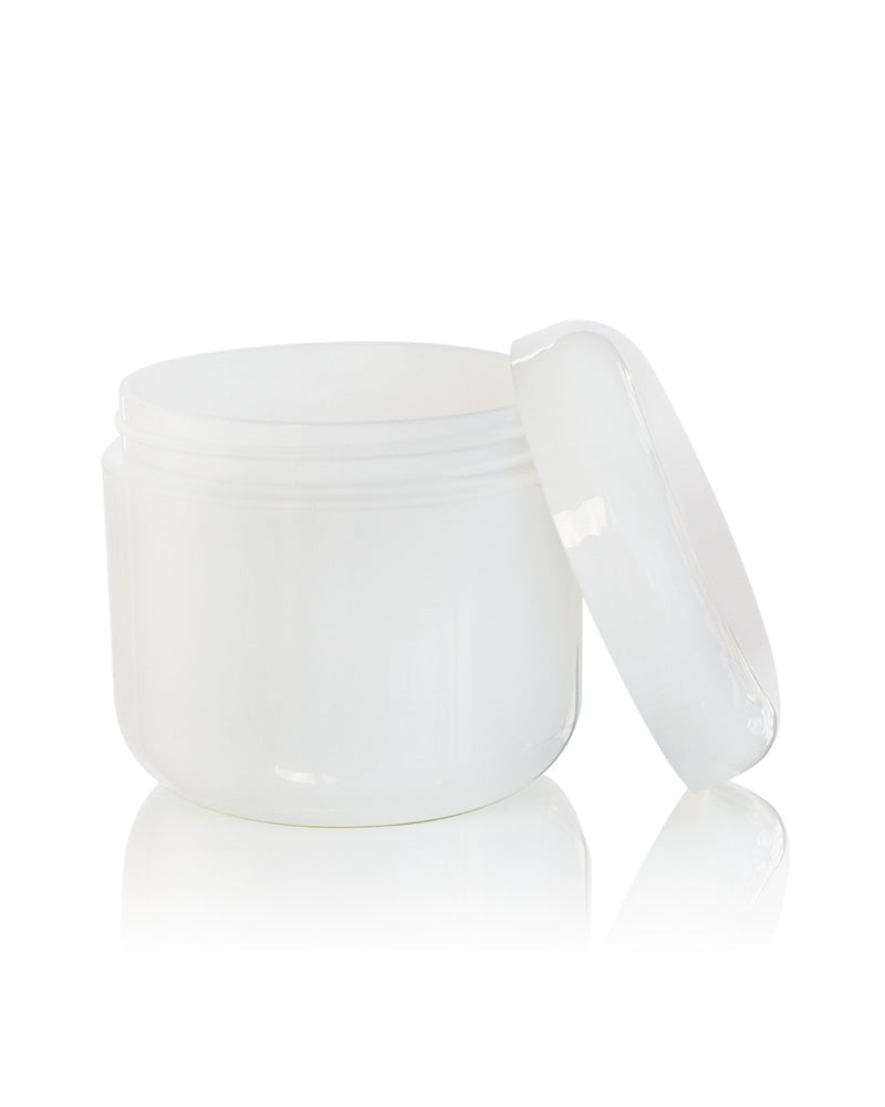 8 oz white double wall PETE plastic jar with dome lid